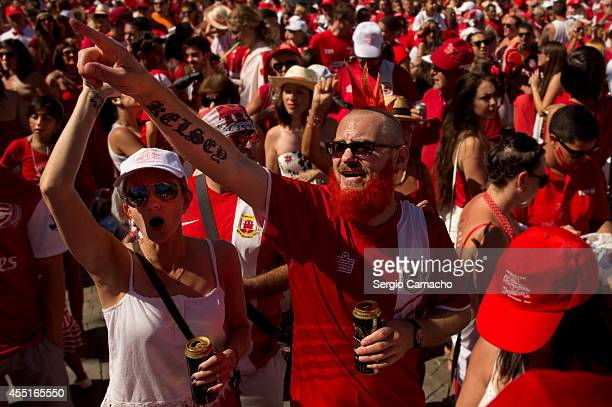 Gibraltarians attend the rally during Gibraltar National Day celebrations on September 10 2014 in Gibraltar Gibraltar National Day is the official...