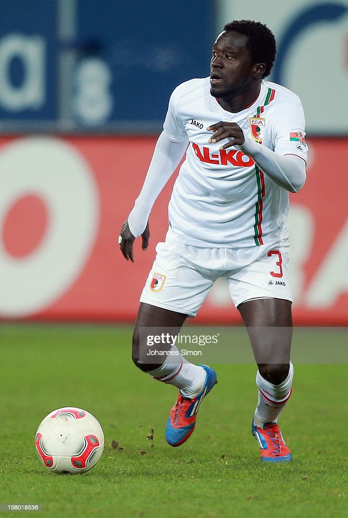 Gibril Sankoh of Augsburg in action during the Bundesliga match between FC Augsburg and FC Bayern Muenchen at SGL Arena on December 8, 2012 in Augsburg, Germany.