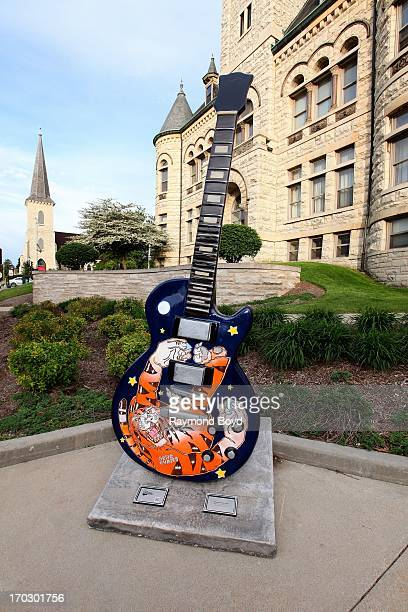 Gibson Guitar sits outside the Waukesha County Museum for the opening of the Les Paul exhibit 'Les Paul The Wizard of Waukesha' in Waukesha Wisconsin...