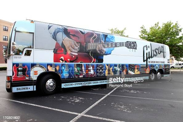 Gibson Guitar tour bus sits in a parking lot outside the Waukesha County Museum in Waukesha Wisconsin on JUNE 08 2013