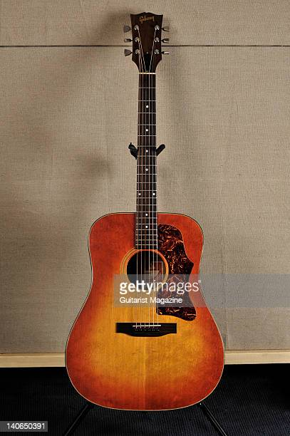 Gibson J45 acoustic guitar belonging to James Dean Bradfield of the band Manic Street Preachers August 18 2010