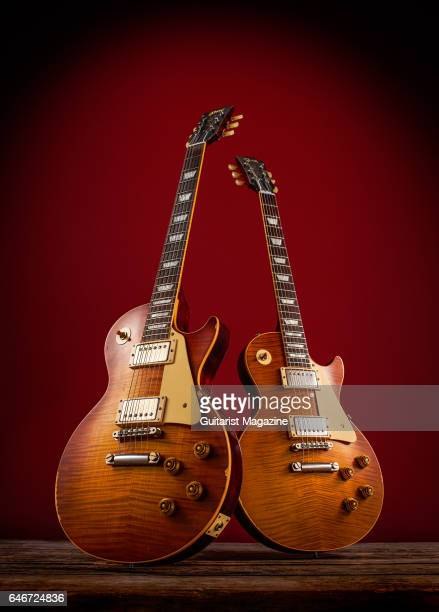 A Gibson Les Paul '60 Reissue and Gibson Les Paul '59 Reissue electric guitar taken on May 23 2016