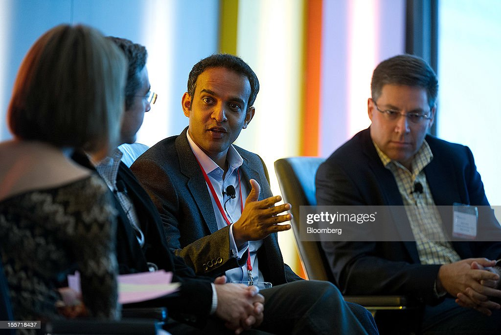 Gibu Thomas, senior vice president of mobile and digital for Wal-Mart Stores Inc., second right, speaks while Kym McNicholas, executive producer at PandoDaily, left, David Marcus, president of PayPal Inc., second left, and Kevin Talbot, co-founder and managing partner in Relay Ventures, listen during the Open Mobile Summit & Appcelerate conference in San Francisco, California, U.S., on Wednesday, Nov. 7, 2012. The Open Mobile Summit, now in its fifth year, brings together the most influential and innovative in the mobile industry to provide a vision of the new ecosystem. Appcelerate returns for the third year joining together app developers to share the secrets of their success. Photographer: David Paul Morris/Bloomberg via Getty Images
