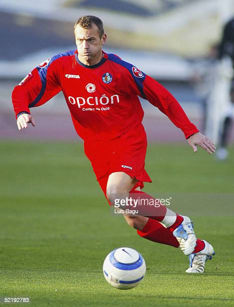 Gica Craioveanu of Getafe in action during the La Liga match between RCD Espanyol and Getafe at the Montjuic stadium on February 13 2005 in Barcelona...