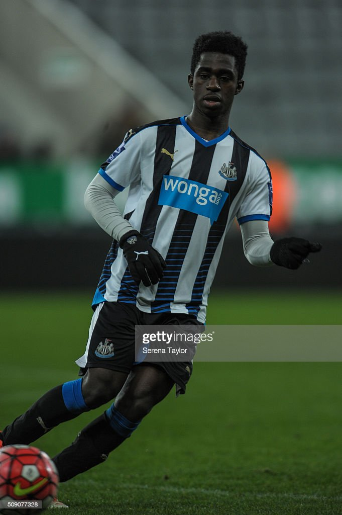 Gideon Adu-Paprah of Newcastle passes the ball during the Barclays Premier League U21 match between Newcastle United and Stoke City at St.James' Park on February 8, 2016, in Newcastle upon Tyne, England.