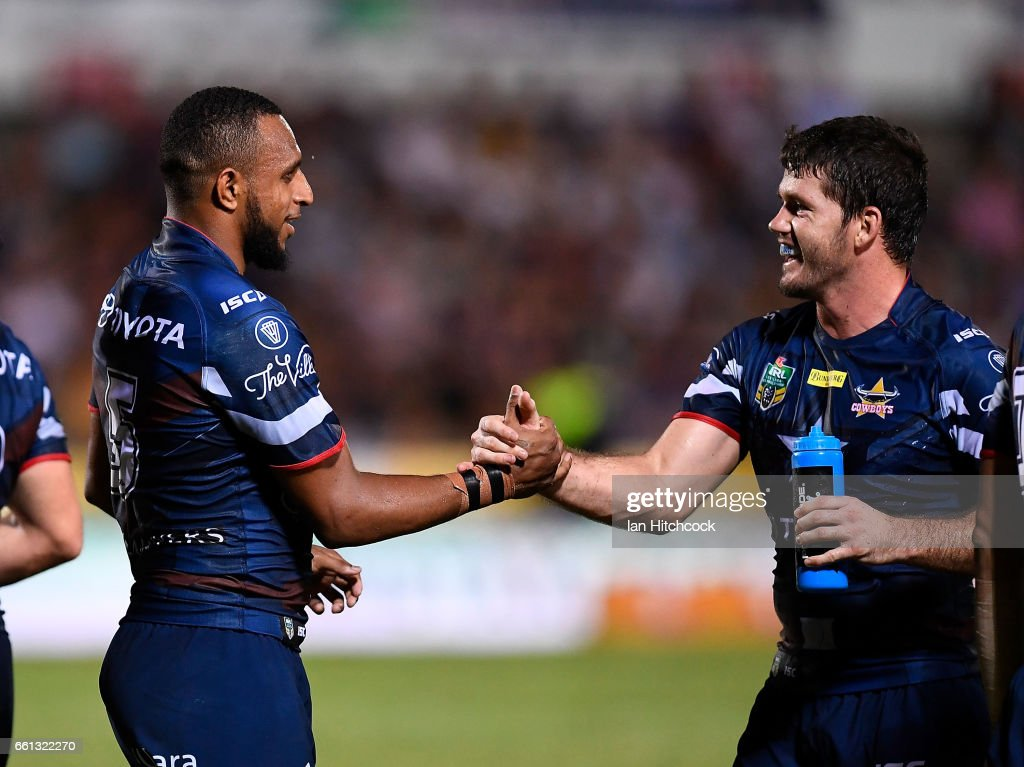 Gideon Gela-Mosby of the Cowboys celebrates after scoring a try with Lachlan Coote of the Cowboys during the round five NRL match between the North Queensland Cowboys and the South Sydney Rabbitohs at 1300SMILES Stadium on March 31, 2017 in Townsville, Australia.
