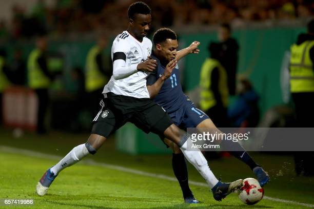 Gideon Jung of Germany challenges Jacob Murphy of England during the U21 international friendly match between Germany and England at BRITAArena on...