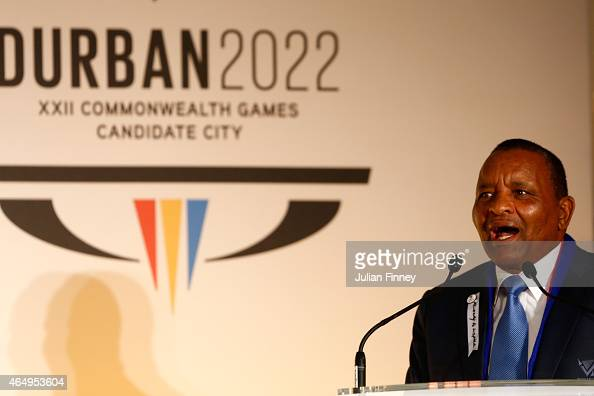 Gideon Sam the SASCOC President talks during the formal bid from Durban South Africa to host the 2022 Commonwealth Games at Mansion House on March 2...