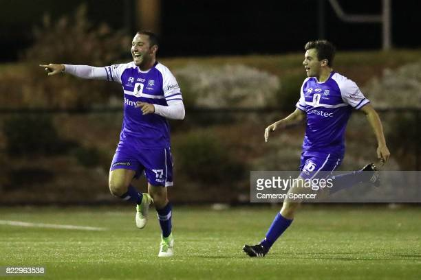 Gideon Sweet of Hakoah FC celebrates kicking a goal during the FFA Cup round of 32 match between Hills United FC and Hakoah Sydney City East at...