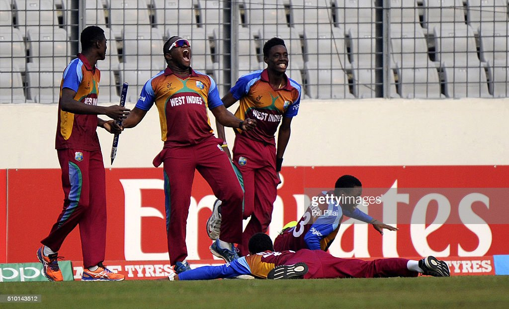 Gidron Pope of West Indies U19 along with teammates celebrate after winning the ICC U19 World Cup Final Match between India and West Indies on February 14, 2016 in Dhaka, Bangladesh.