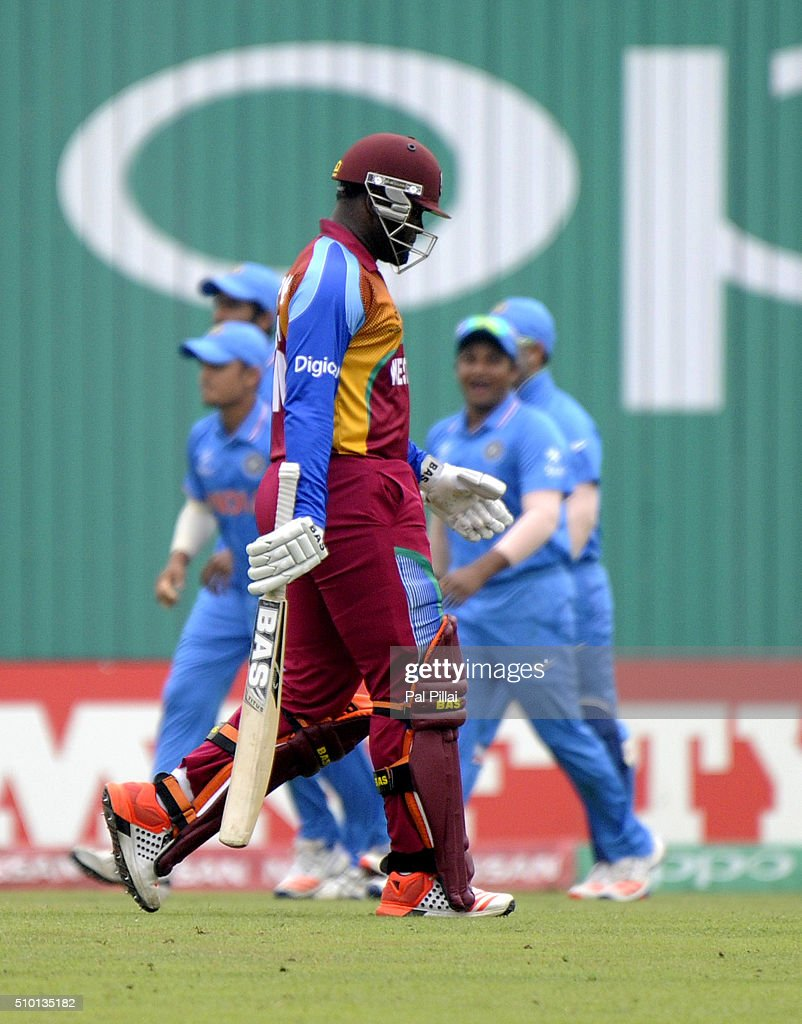 Gidron Pope of West Indies U19 walks back after getting out during the ICC U19 World Cup Final Match between India and West Indies on February 14, 2016 in Dhaka, Bangladesh.