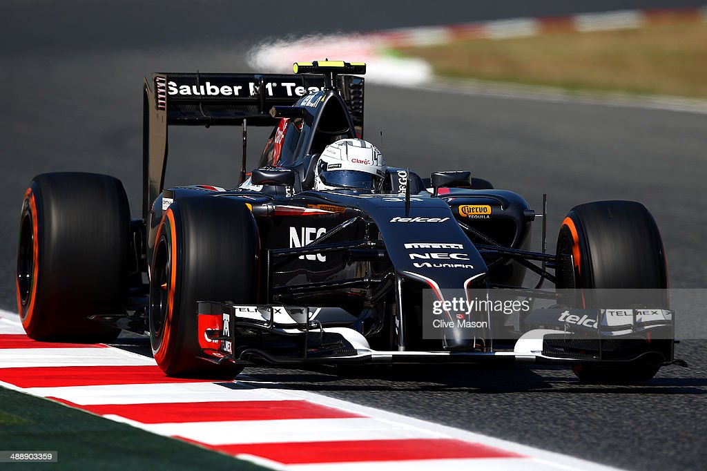 Giedo van der Garde of Netherlands and Sauber F1 drives during practice ahead of the Spanish F1 Grand Prix at Circuit de Catalunya on May 9 2014 in...