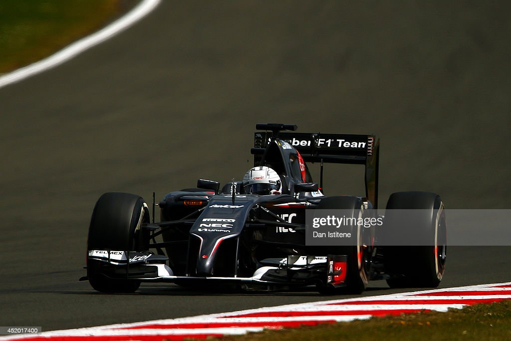 Giedo van der Garde of Netherlands and Sauber F1 drives during day two of testing at Silverstone Circuit on July 9 2014 in Northampton England