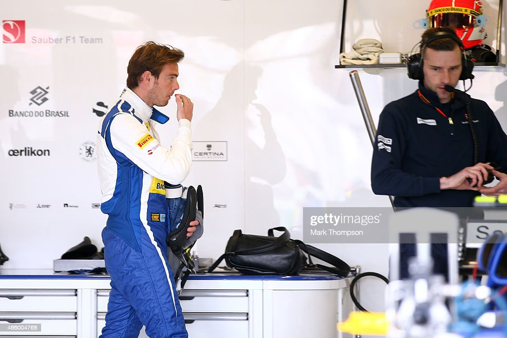 Giedo van der Garde of Netherlands and Sauber F1 walks through the team garage during practice for the Australian Formula One Grand Prix at Albert...