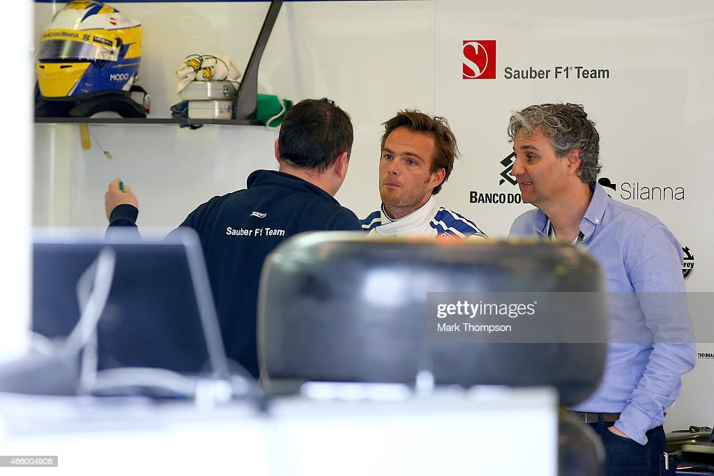 Giedo van der Garde of Netherlands and Sauber F1 works in the team garage during practice for the Australian Formula One Grand Prix at Albert Park on...