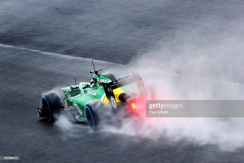 Giedo van der Garde of the Netherlands and Caterham drives during day four of Formula One winter test at the Circuit de Catalunya on February 22, 2013 in Montmelo, Spain.