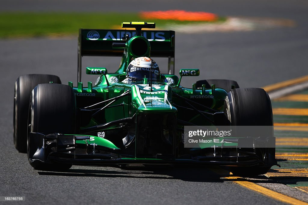 Giedo van der Garde of the Netherlands and Caterham drives during practice for the Australian Formula One Grand Prix at the Albert Park Circuit on March 15, 2013 in Melbourne, Australia.