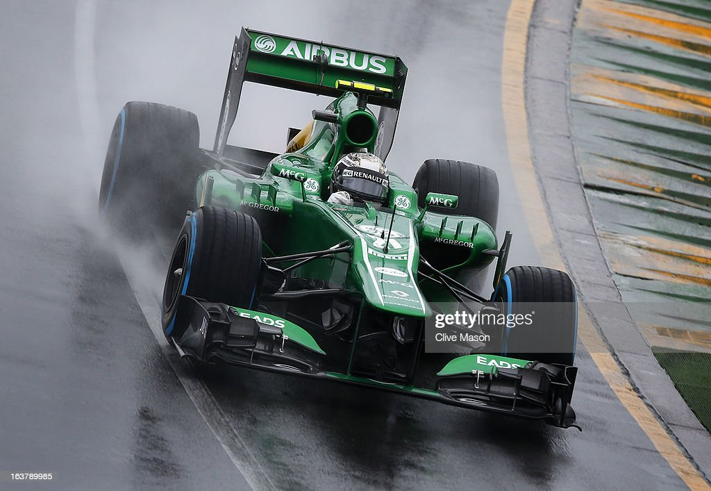 Giedo van der Garde of the Netherlands and Caterham drives during qualifying for the Australian Formula One Grand Prix at the Albert Park Circuit on March 16, 2013 in Melbourne, Australia.