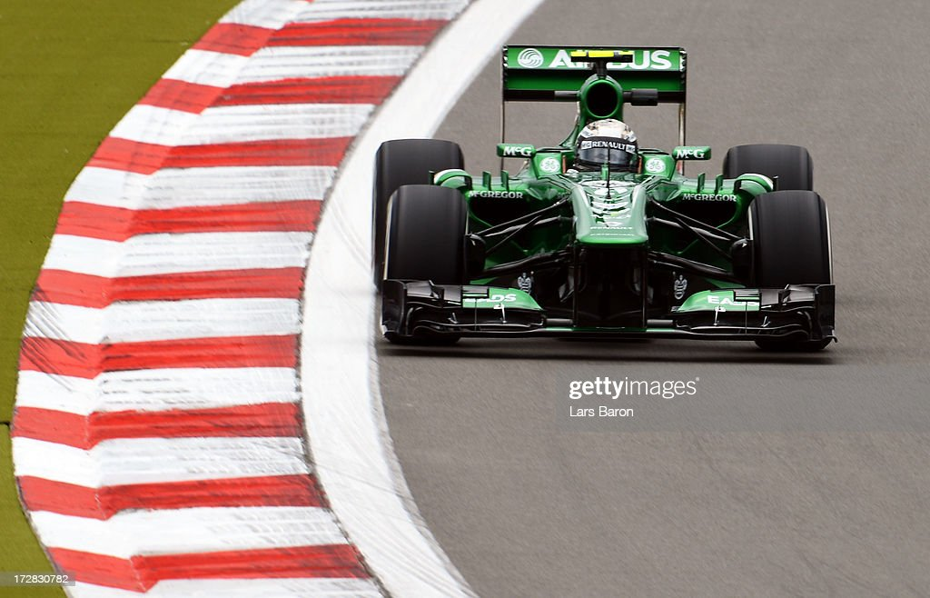 Giedo van der Garde of the Netherlands and Caterham drives during practice for the German Grand Prix at the Nuerburgring on July 5, 2013 in Nuerburg, Germany.