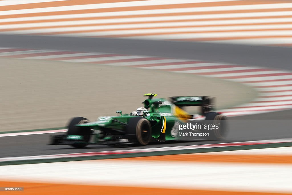 Giedo van der Garde of The Netherlands and Caterham drives during practice for the Indian Formula One Grand Prix at Buddh International Circuit on...