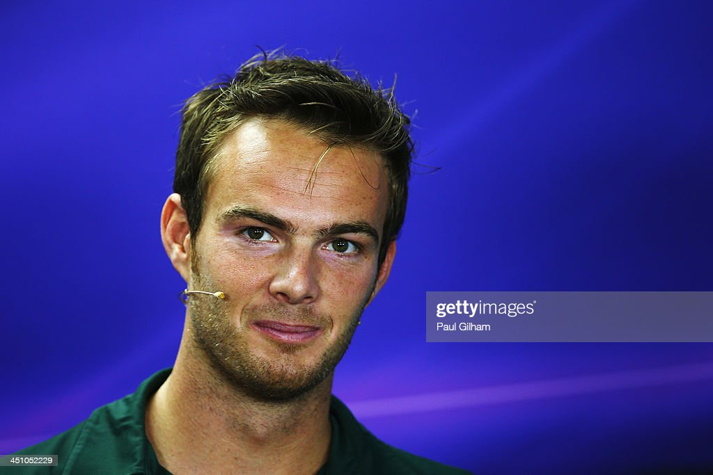 Giedo van der Garde of The Netherlands and Caterham is interviewed by the media during previews for the Brazilian Formula One Grand Prix at Autodromo...