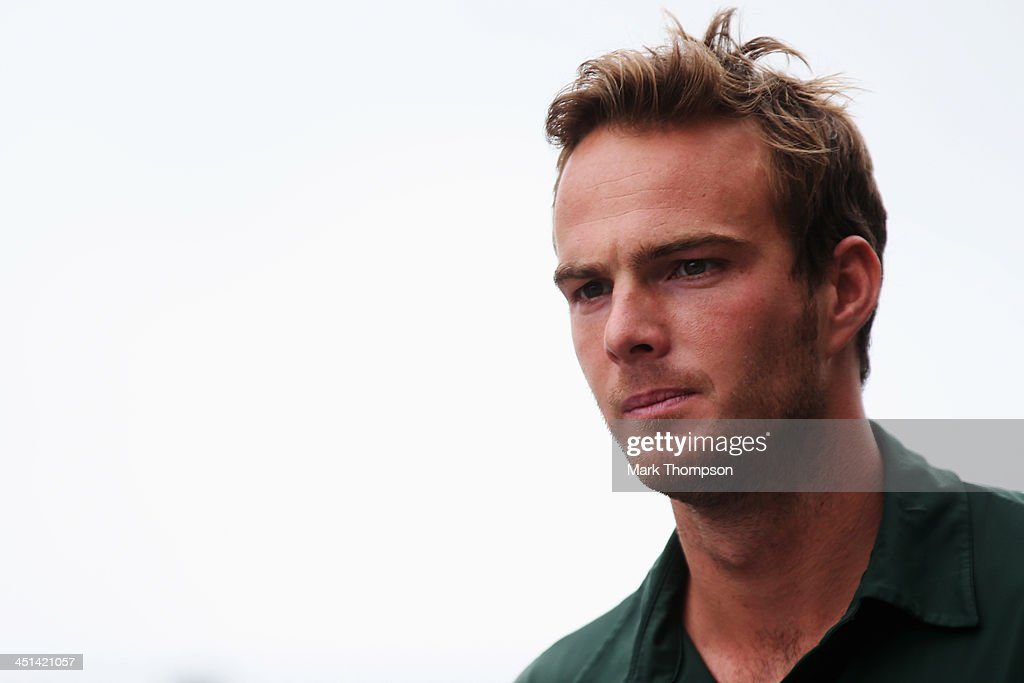 Giedo van der Garde of The Netherlands and Caterham is seen following practice for the Brazilian Formula One Grand Prix at Autodromo Jose Carlos Pace...