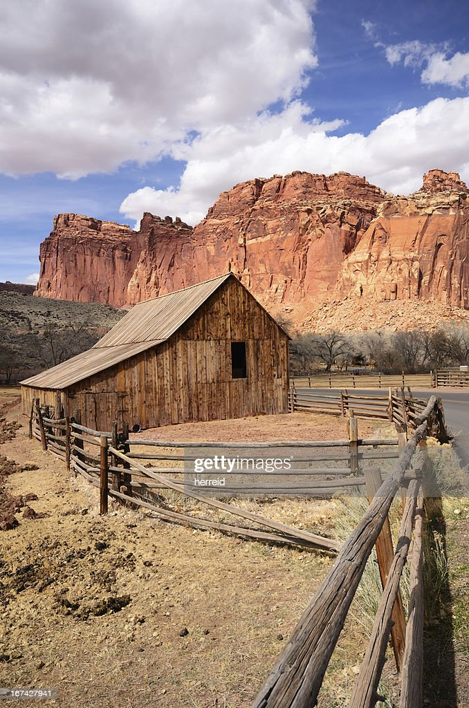 Gifford Farm Barn at Capitol Reef National Park : Stock Photo