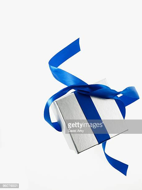 Gift and blue ribbon