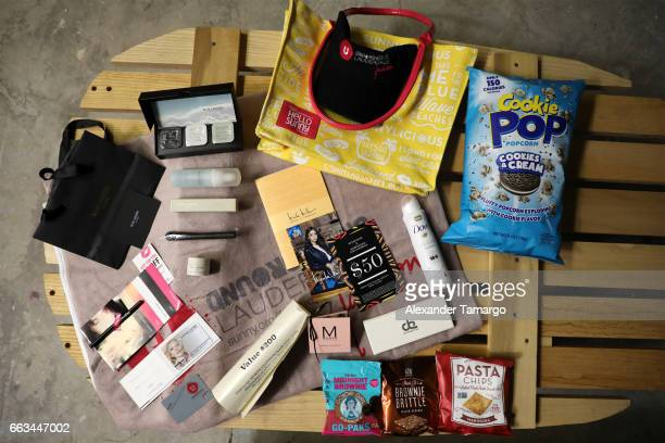 Gift bag products on display at Underground Lauderdale Fashion Weekend Brought To You By The Greater Fort Lauderdale Conventions Visitors Bureau And...