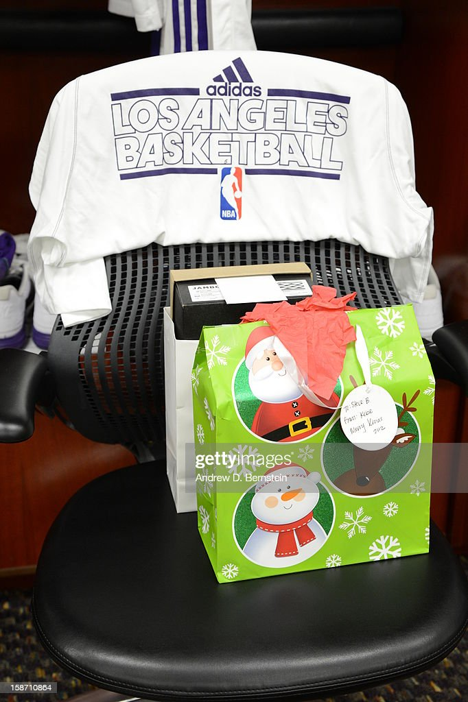 Gift bags await players in the locker room before a game between the New York Knicks and the Los Angeles Lakers at Staples Center on December 25, 2012 in Los Angeles, California.