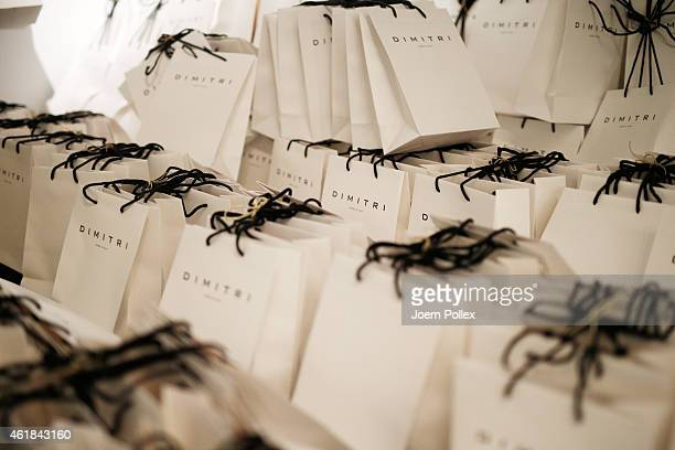 Gift bags backstage ahead of the Dimitri show during the MercedesBenz Fashion Week Berlin Autumn/Winter 2015/16 at Brandenburg Gate on January 20...