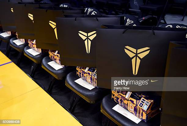 Gift bags for the fans who are sitting courtside are seen at Staples Center at the final game of Kobe Bryant's career on April 13 2016 in Los Angeles...
