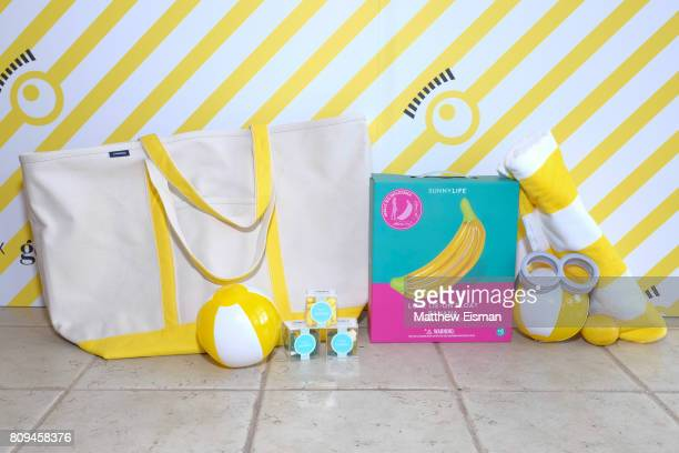 Gift bags on display during a screening of Despicable Me 3 hosted by Gwyneth Paltrow and goop at Southampton Movie Theatre on July 5 2017 in...