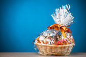 gift basket against blue background