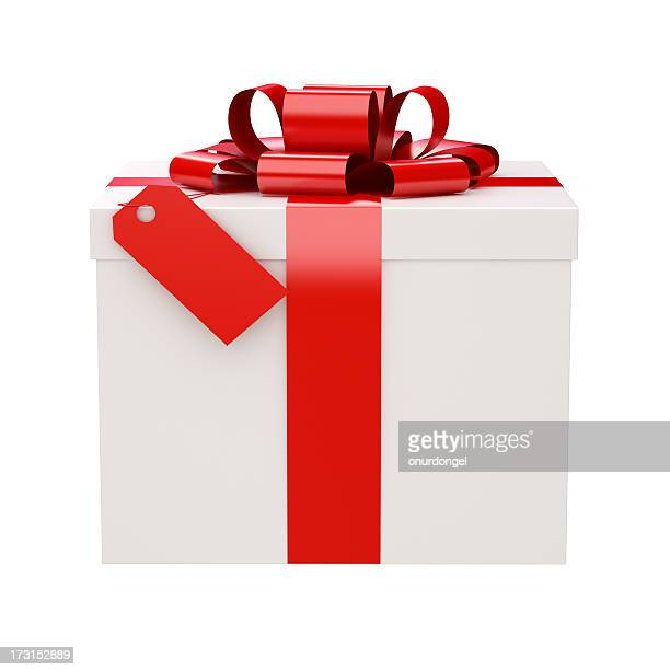 Gift Box and a Tag with clipping path