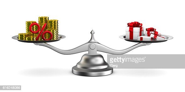 Gift box and cash on scale. Isolated 3D image : Foto de stock