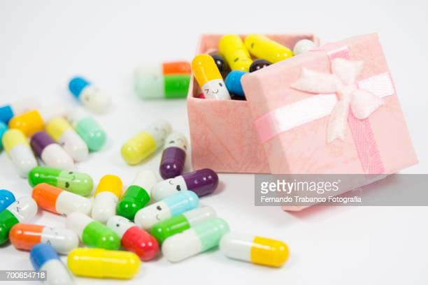 Gift box filled with pills and medicines