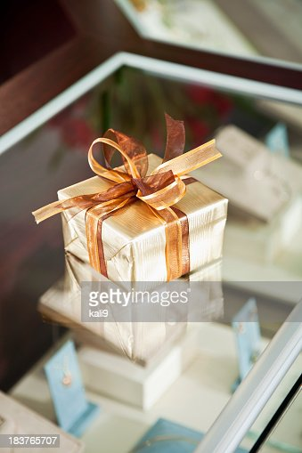 Gift box in jewelry store