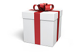 3d Render Gift Box red (isolated on white and clipping path)