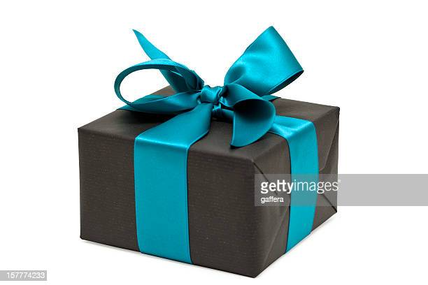 gift box with blue bow (clipping path)