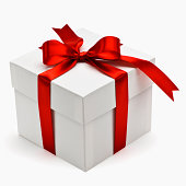 Gift box with red ribbon