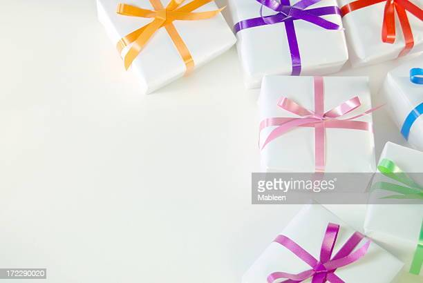 Gift boxes and colorful ribbons