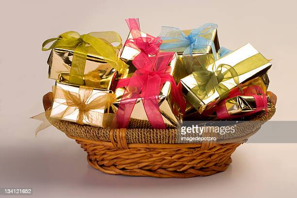 gift boxes in basket