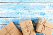 Gift boxes on rustic wood