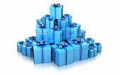 3d Render Gift Boxes Blue color (isolated and clipping path)