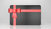 Black gift card with bow and ribbon isolated on white with  cl,pping path