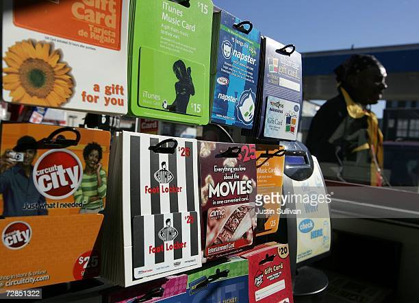 Gift cards from various retailers are seen on display at a Chevron service station convenience store December 19 2006 in San Francisco California...