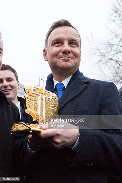 A gift from the people of Otwock for President of Poland Andrzej Duda during his visit Otwock on 08 March 2016 in Otwock Poland