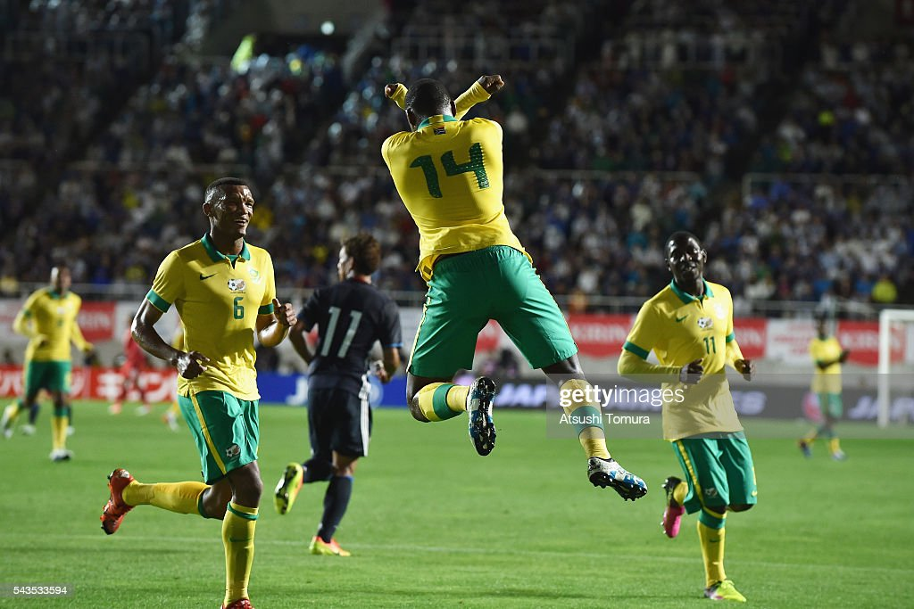 Gift Motupa (C) of South Africa celebrates scoring the opening goal from the penalty spot during the U-23 international friendly match between Japan and South Africa at the Matsumotodaira Football Stadium on June 29, 2016 in Matsumoto, Nagano, Japan.