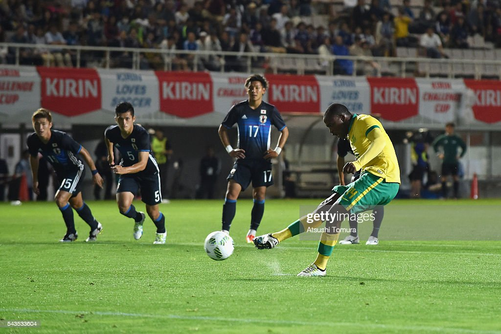 Gift Motupa of South Africa converts the penalty to score the opening goal during the U-23 international friendly match between Japan and South Africa at the Matsumotodaira Football Stadium on June 29, 2016 in Matsumoto, Nagano, Japan.